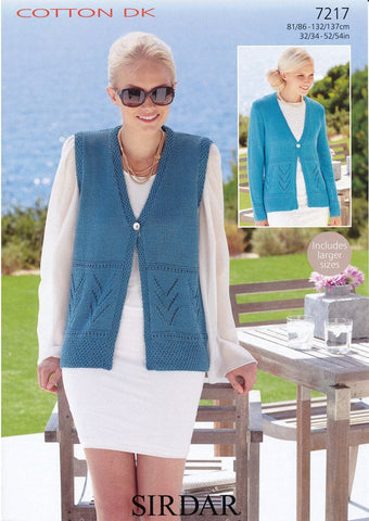 Cardigans and Waistcoat Sirdar Cotton DK (7217)