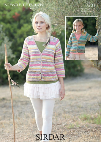 Womens and Girls Cardigans in Sirdar Crofter DK (7231)