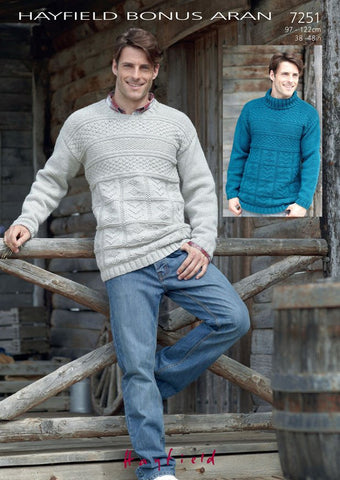 Mens Round and Polo Neck Sweaters in Hayfield Bonus Aran (7251) - Digital Version