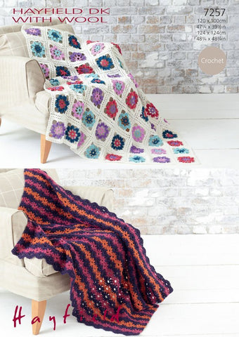 Crochet Flower Throw in Hayfield DK With Wool (7257)
