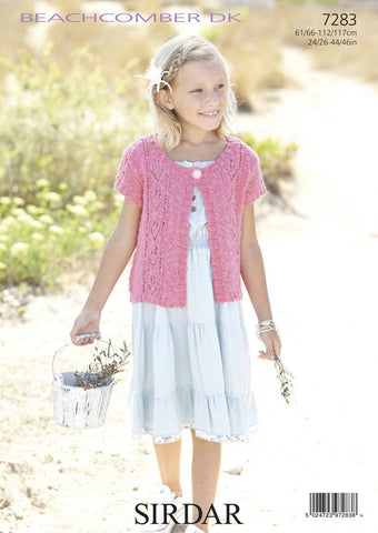 Girls Short Sleeved and Women's Long Sleeved Jackets in Sirdar Beachcomber DK (7283)