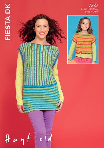 Womens and Girls Short Sleeved and Sleeveless Tops in Hayfield Fiesta DK (7287)