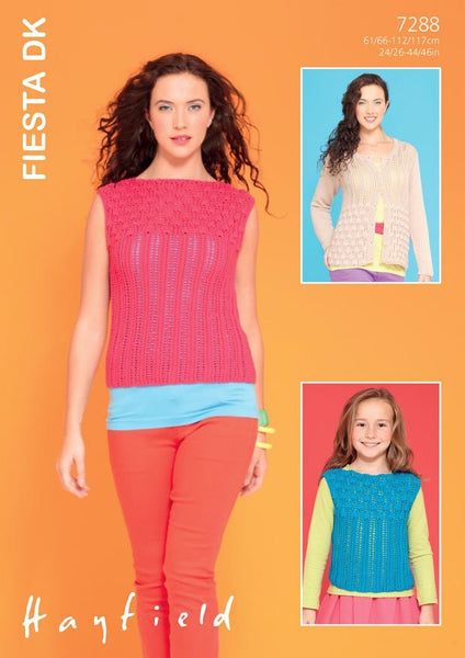 Womens and Girls Round Neck Cardigan and Slash-Neck Top in Hayfield Fiesta DK (7288)