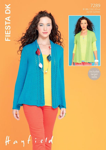 Womens Short and Long Sleeved Edge to Edge Jacket in Hayfield Fiesta DK (7289)