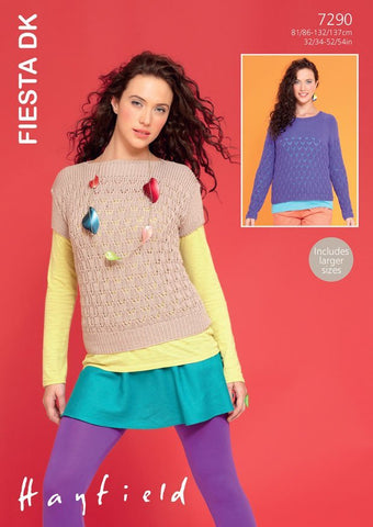 Womens Slash Neck Top and Long Sleeved Sweater in Hayfield Fiesta DK (7290)