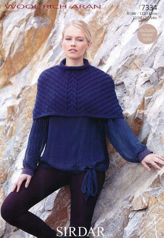 Womens Cape in Sirdar Wool Rich Aran (7334)