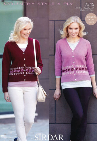 Womens Long and 3/4 Sleeved Cardigans in Sirdar Country Style 4 Ply (7345)