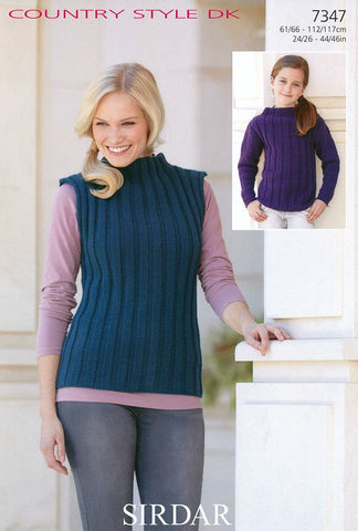 Girls Long Sleeve and Womens Sleeveless Tops in Sirdar Country Style DK (7347)