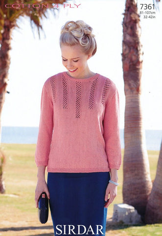 Sweater in Sirdar Cotton 4 Ply (7361)