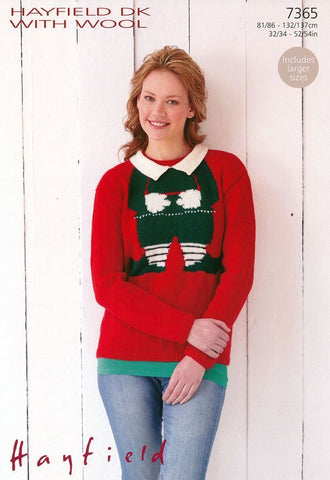 Womens Christmas Sweater in Hayfield DK with Wool (7365)