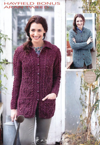 Womens Flat Collared and Round Neck Cardigan in Hayfield Bonus Aran Tweed (7370)
