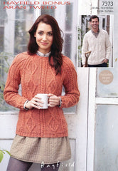 Womens Round Neck and Mens V Neck Sweaters in Hayfield Bonus Aran Tweed (7373)