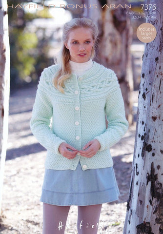 Womens Irish Moss Stitch Cardigan in Hayfield Bonus Aran (7376)