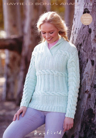 Womens Wrap Neck Sweater in Hayfield Bonus Aran (7379)