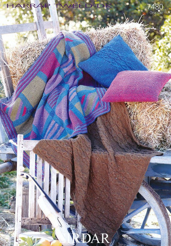 Patchwork and Cable Throw and Cushions in Sirdar Harrap Tweed DK (7480)