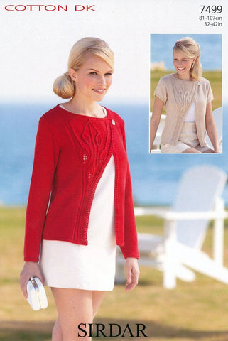 Long and Short Sleeved Cardigans in Sirdar Cotton DK (7499)