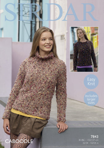 Round Neck and Stand up Neck Sweater in Sirdar Caboodle (7843)