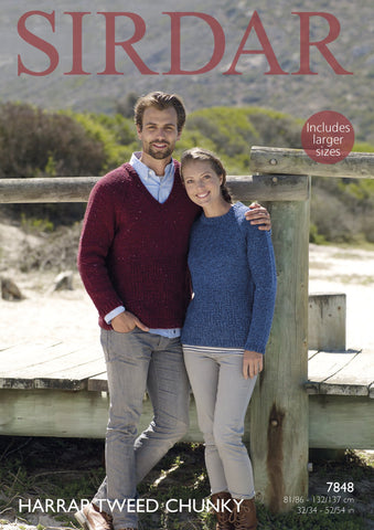 Round Neck and V Neck Sweater in Sirdar Harrap Tweed Chunky (7848)
