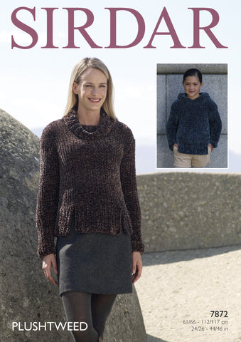 Cowl Neck and Hooded Sweater in Sirdar Plushtweed (7872)