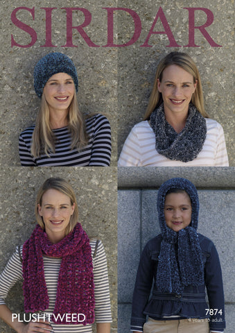 Scarves, Hat and Snood in Sirdar Plushtweed (7874)