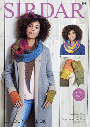 Double Loop Snood, Winged Wrap and Mitts in Sirdar Colourwheel (8031)