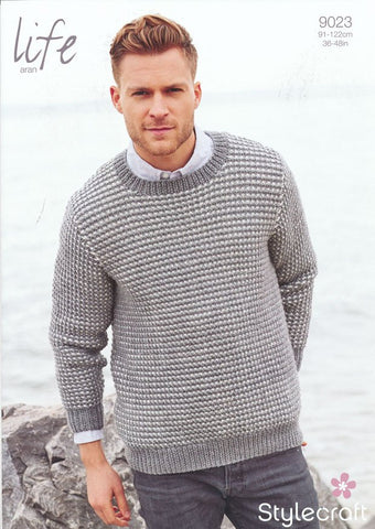 Man's Textured Sweater in Stylecraft Life Aran (9023)