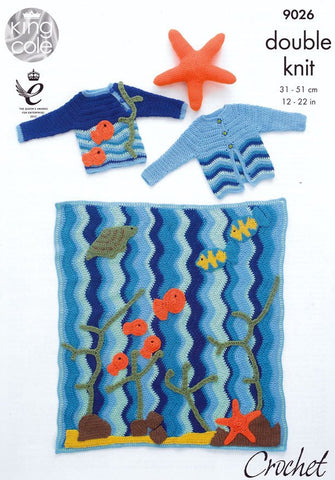 Under the Sea Blanket, Jumper, Cardigan and Starfish Toy in King Cole Pricewise DK (9026)