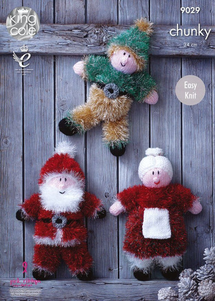 Santa and Elf Kit in King Cole Tinsel with Free Pattern