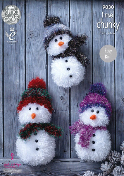 Tinsel Snowmen in King Cole Tinsel Chunky (9030)