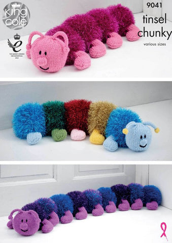Tinsel Centipede Draught Excluder Kit in King Cole Tinsel Chunky (9041)