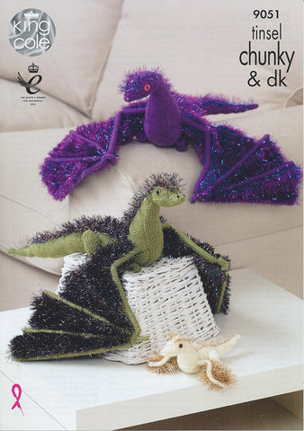Dragons in King Cole Tinsel Chunky and Pricewise DK (9051)