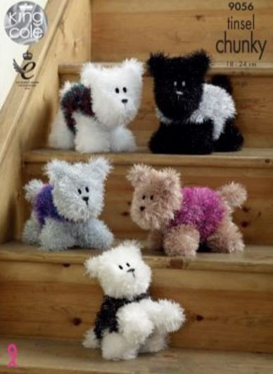 Tinsel Chunky Westie Style Dogs (9056)