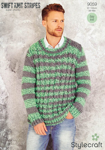 Mens Sweater in Stylecraft Swift Knit Stripes (9059)