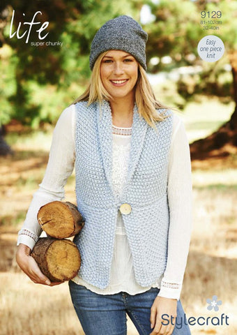 Ladies Waistcoat in Stylecraft Life Super Chunky (9129)