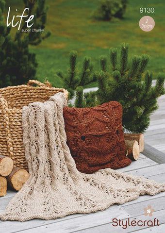 Throw and Cushion in  Stylecraft Life Super Chunky (9130)