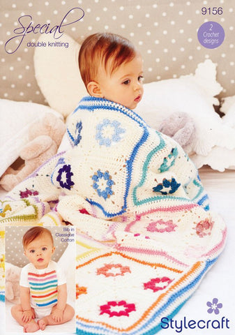 Daisy Square Blanket and Baby Bib in Stylecraft Special DK & Classique (9156)