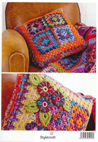 Granny Square Throw and Cushion in Stylecraft Carnival Chunky & Special Aran (9159)