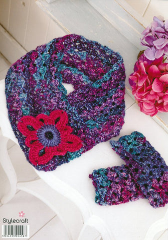 Lace Shawl and Scarf with Mittens in Stylecraft Carnival Chunky and Life Aran (9160)