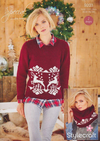 Ladies Christmas Jumper and Snood in Stylecraft Special DK (9203) - Digital Version