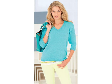 V-Neck Sweater in Rico Design Essentials Cotton DK (RD226)