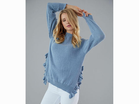 Pullover With Ruffles in Schachenmayr Peach Cotton (S10457)