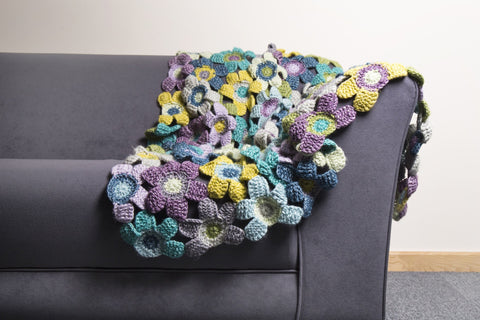 Tunisian Flower Blanket