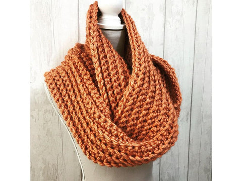 Ribbed Crochet Cowl in Cygnet Yarns Seriously Chunky Metallics