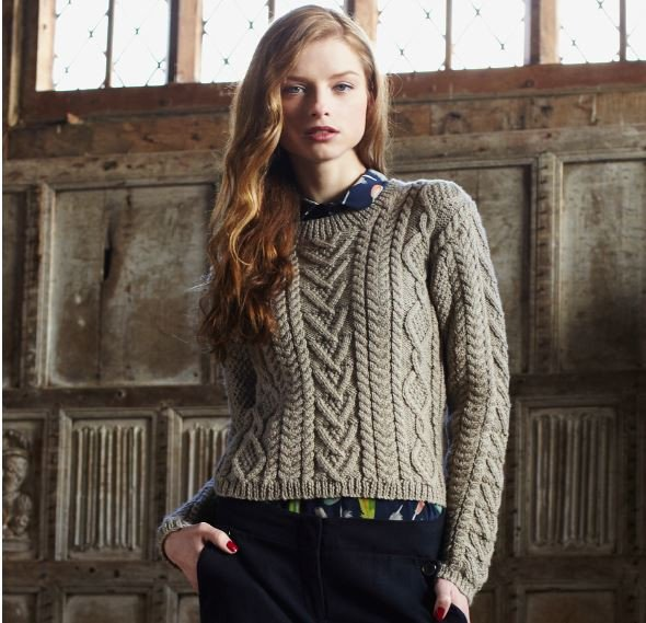 Cable Panelled Sweater Digital Version