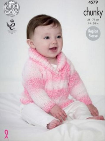 Cardigan and Sweater in King Cole Baby Soft Chunky - Big Value (4579)