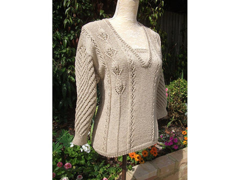Lace & Leaf Sweater with Batwing Sleeves by Pat Menchini in Rico Design Fashion Cotton Metalliset