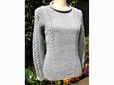 Sweater with Slanting Cables by Pat Menchini in Rico Design Creative Soft Wool Aran