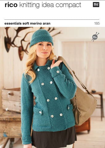 Double Breasted Jacket and Hat in Rico Essentials Soft Merino Aran - 185