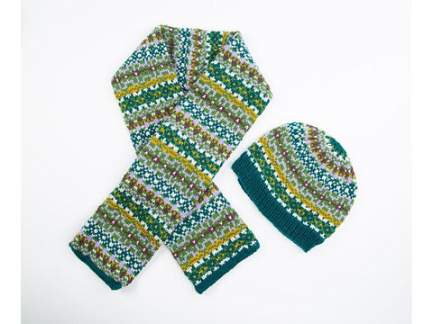 Fair Isle Beanie and Scarf by Ruth Dorrington in Deramores Studio DK