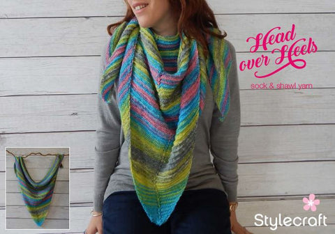 Garter Stripe Triangular Shawl in Stylecraft Head over Heels